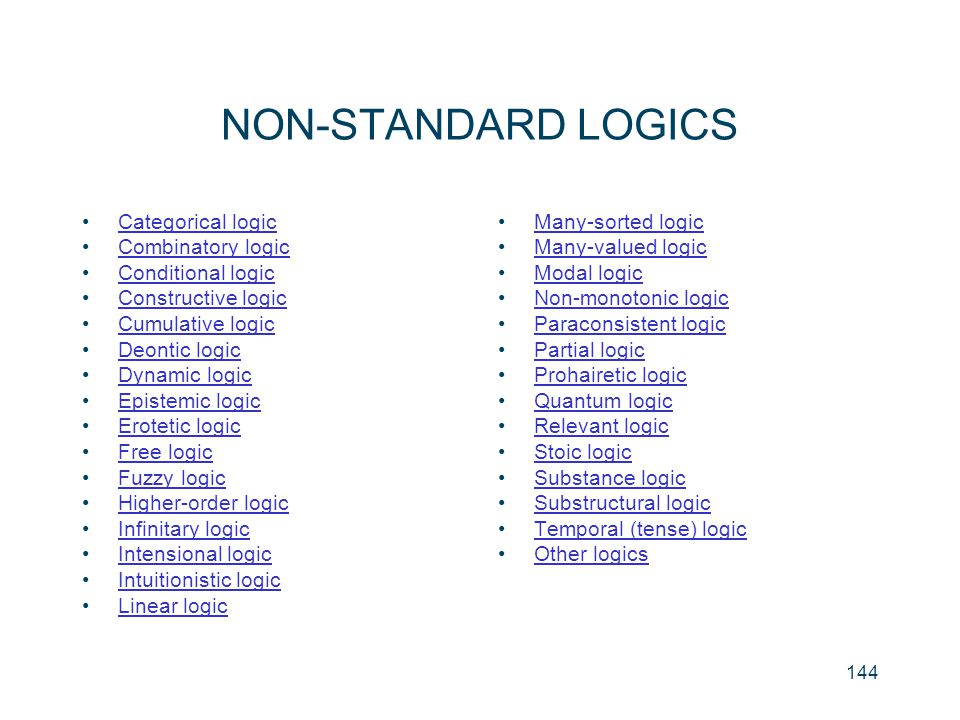 NON-STANDARD LOGICS Categorical logic Combinatory logic