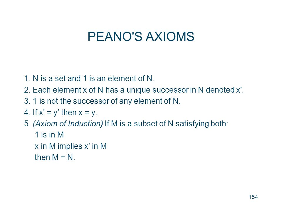 PEANO S AXIOMS 1. N is a set and 1 is an element of N.