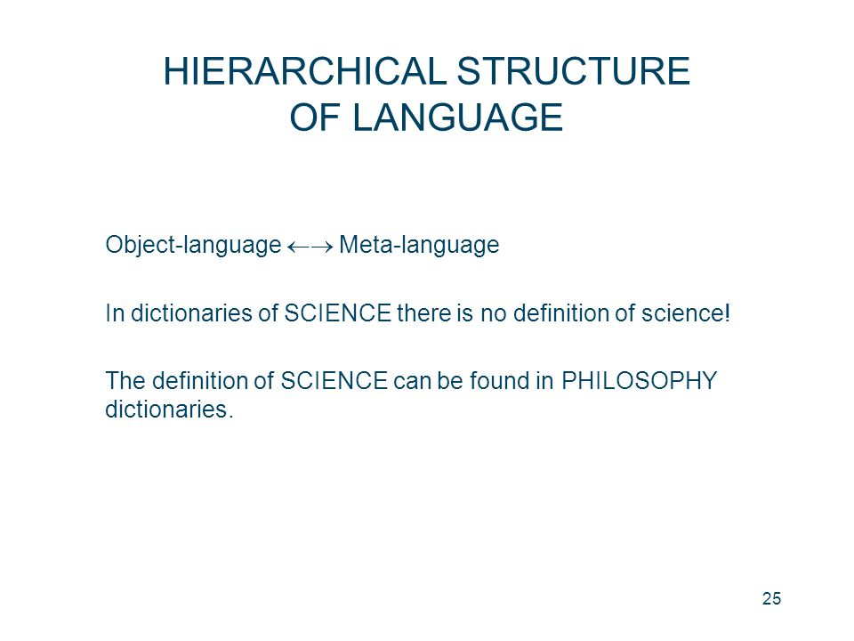 HIERARCHICAL STRUCTURE OF LANGUAGE