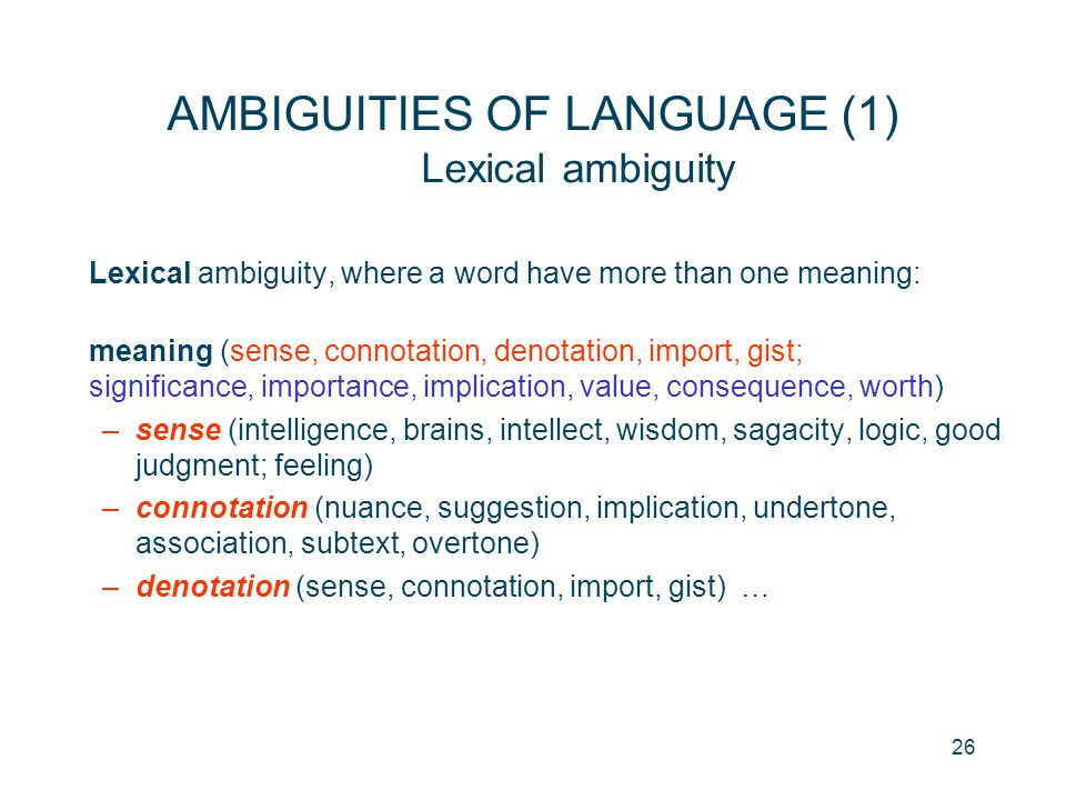 AMBIGUITIES OF LANGUAGE (1) Lexical ambiguity