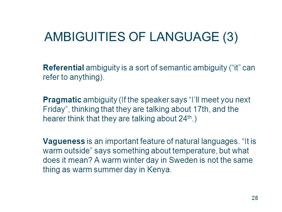 AMBIGUITIES OF LANGUAGE (3)