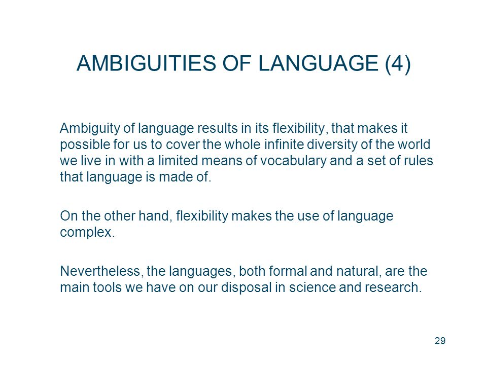 AMBIGUITIES OF LANGUAGE (4)