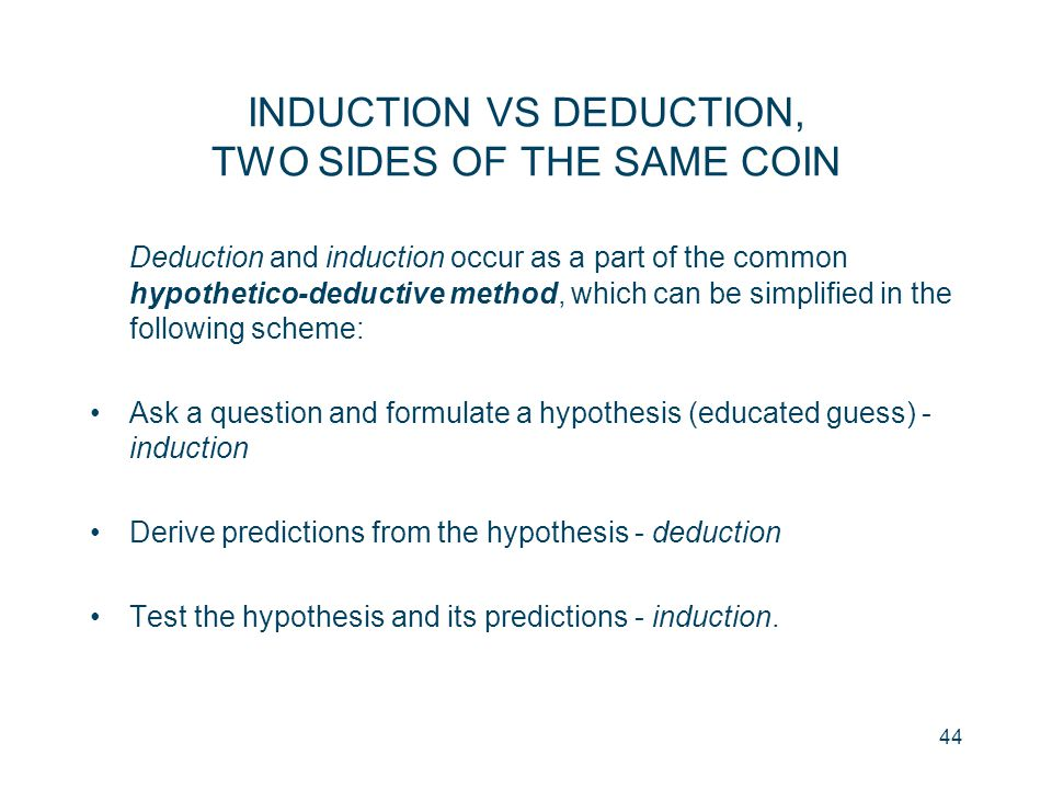 INDUCTION VS DEDUCTION, TWO SIDES OF THE SAME COIN