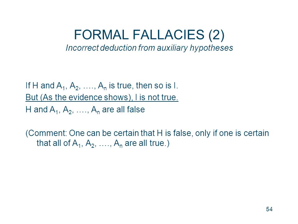 FORMAL FALLACIES (2) Incorrect deduction from auxiliary hypotheses