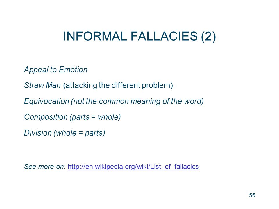 INFORMAL FALLACIES (2) Appeal to Emotion