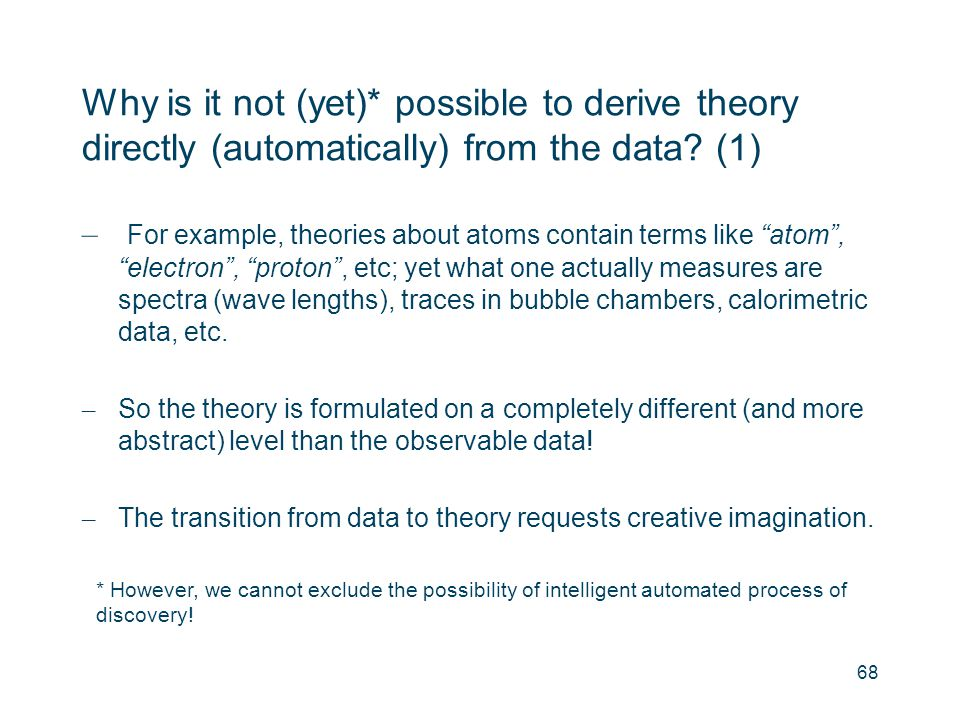 Why is it not (yet)* possible to derive theory directly (automatically) from the data (1)