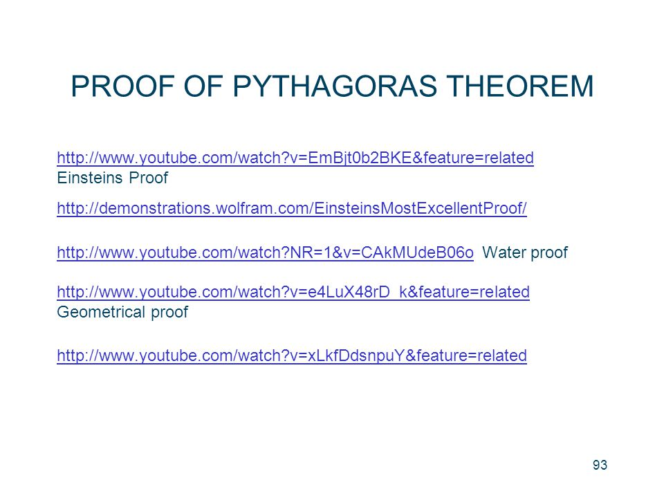 PROOF OF PYTHAGORAS THEOREM