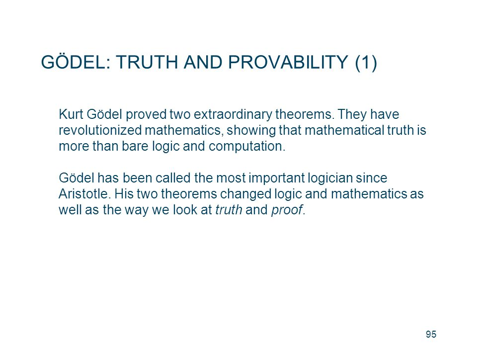GÖDEL: TRUTH AND PROVABILITY (1)