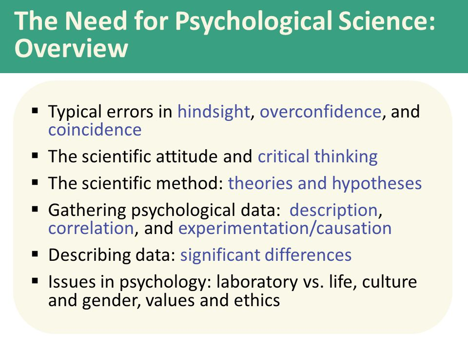 The Need for Psychological Science: Overview