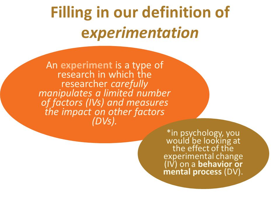 Filling in our definition of experimentation