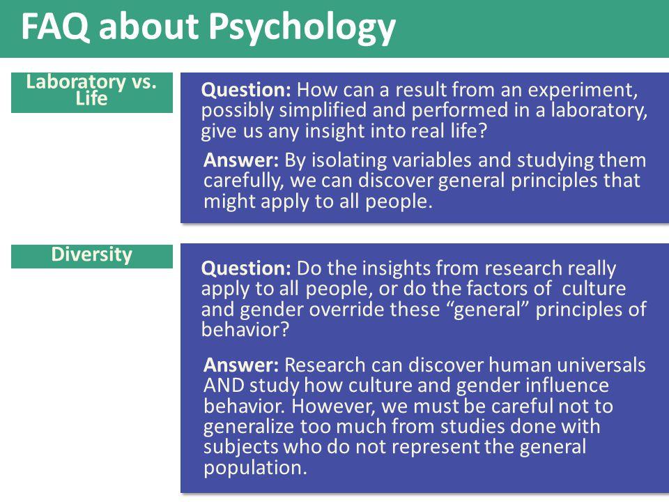FAQ about Psychology Laboratory vs. Life