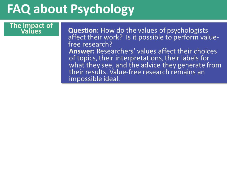 FAQ about Psychology The impact of Values