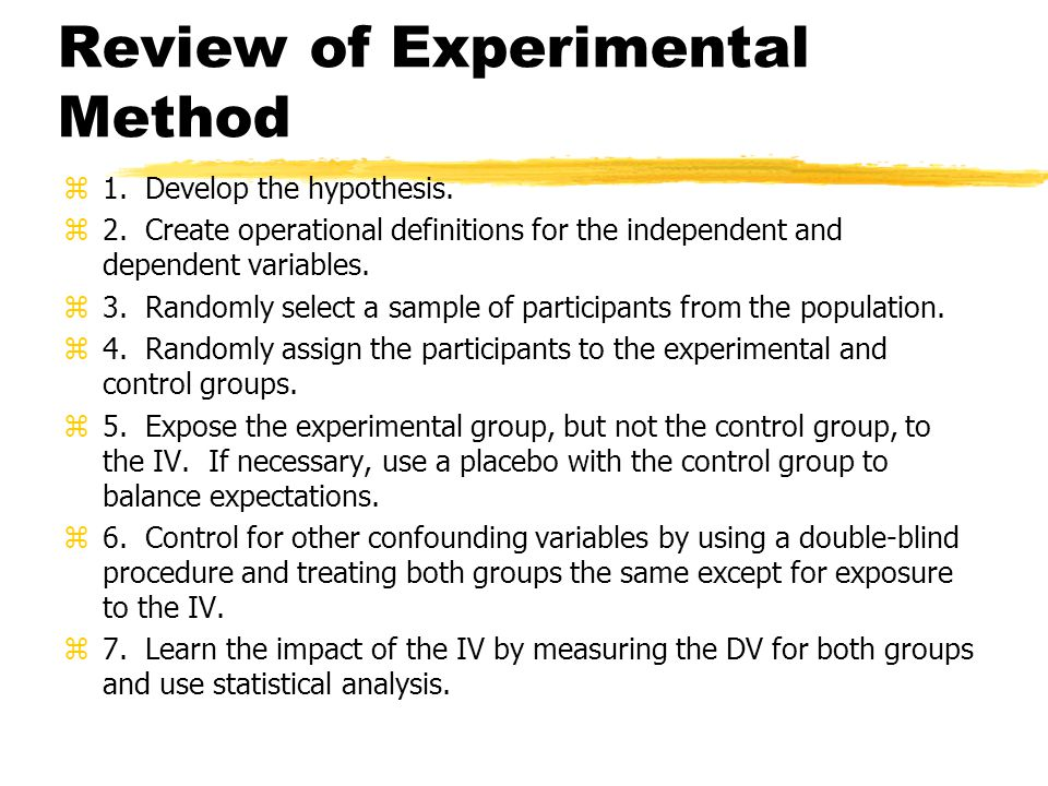 Review of Experimental Method