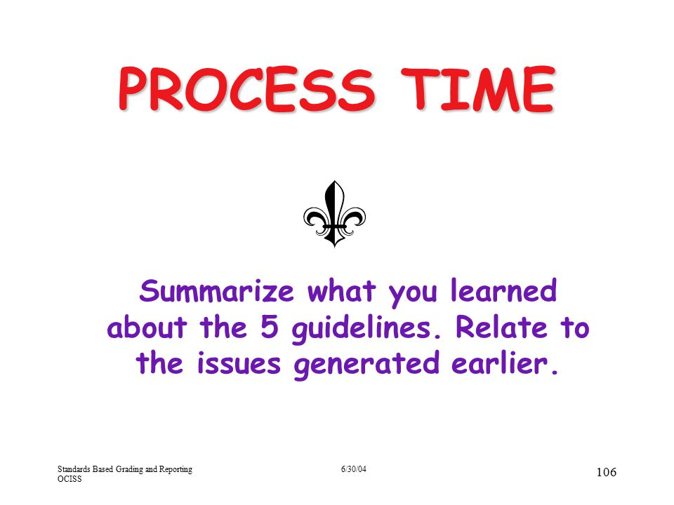 4/13/2017 PROCESS TIME. Summarize what you learned about the 5 guidelines. Relate to the issues generated earlier.