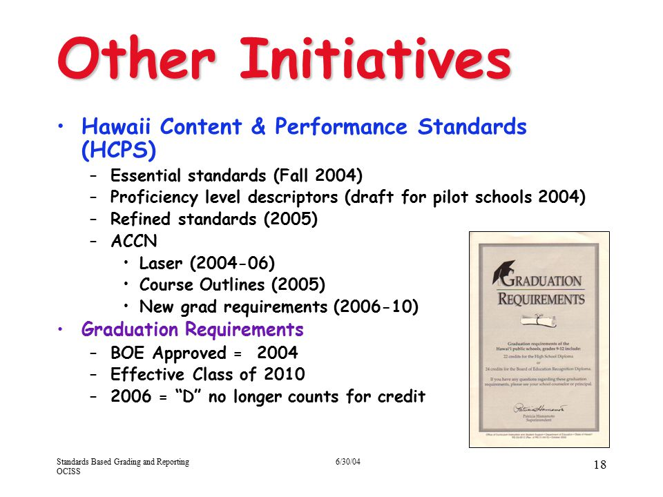 Other Initiatives Hawaii Content & Performance Standards (HCPS)