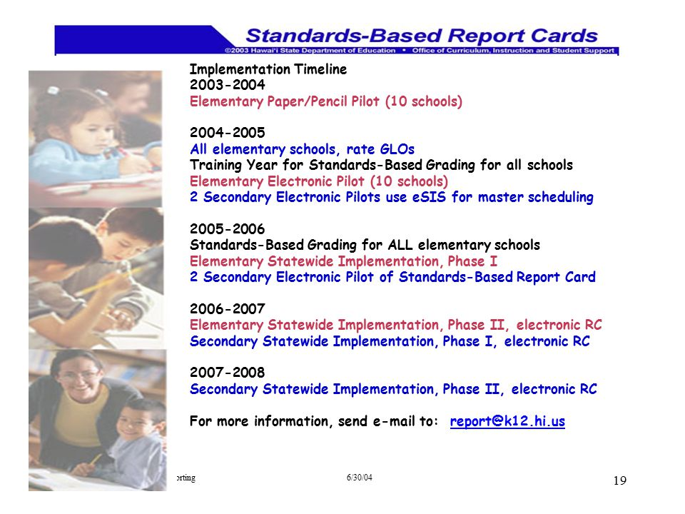 Implementation Timeline 2003-2004