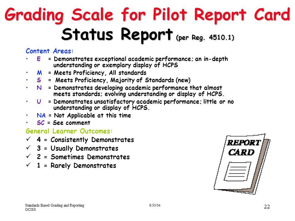 Grading Scale for Pilot Report Card Status Report (per Reg. 4510.1)