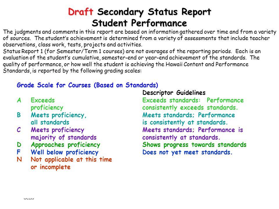 Draft Secondary Status Report