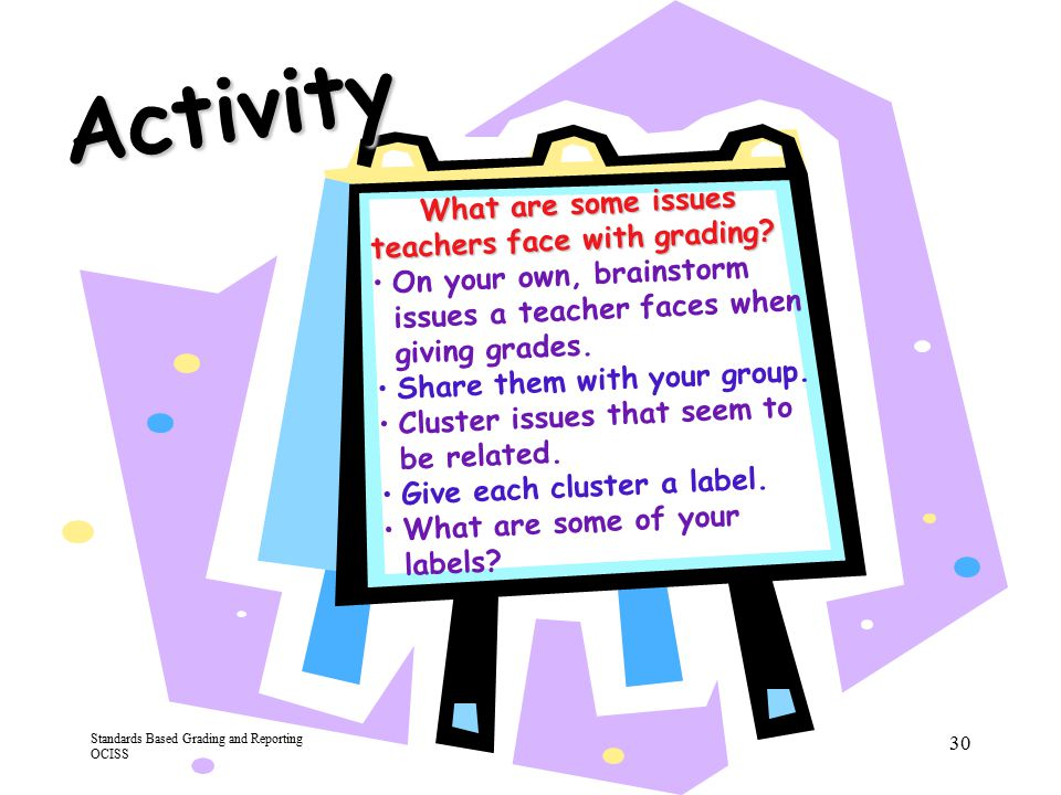 Activity What are some issues teachers face with grading