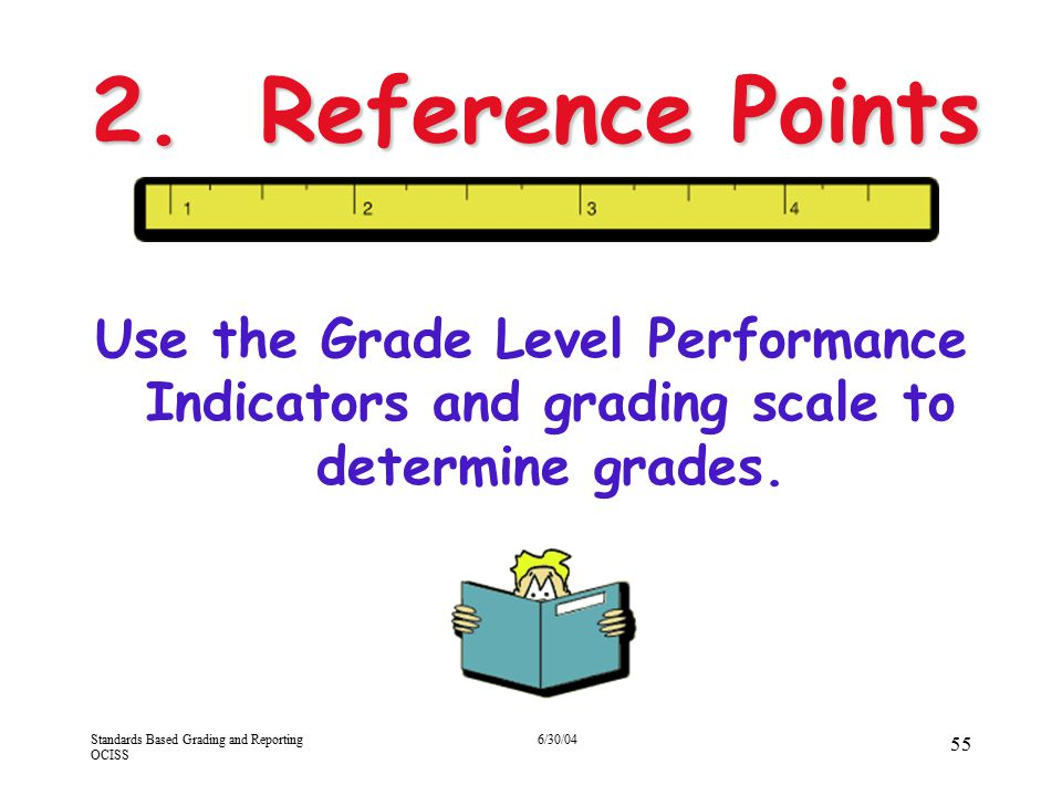 4/13/2017 2. Reference Points. Use the Grade Level Performance Indicators and grading scale to determine grades.