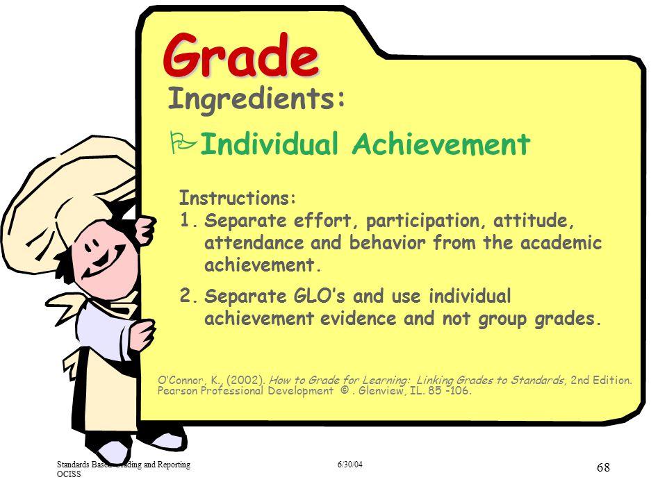 Grade Ingredients: Individual Achievement Instructions: