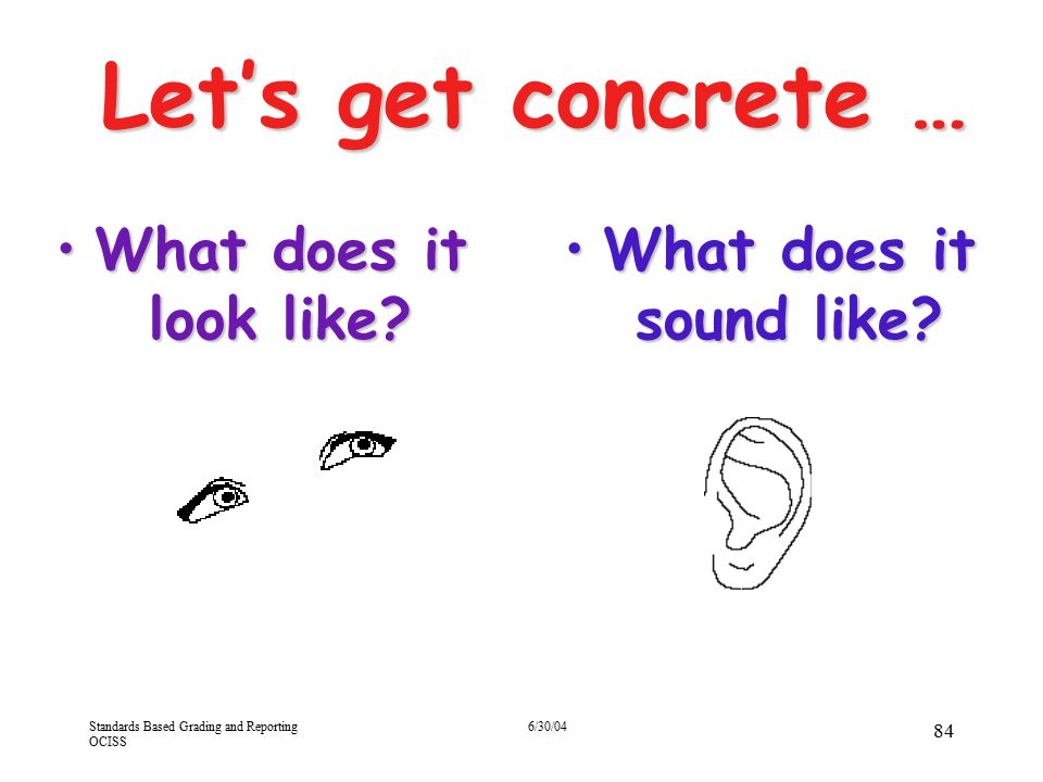 Let's get concrete … What does it look like What does it sound like