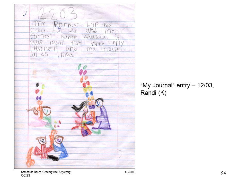 My Journal entry – 12/03, Randi (K)
