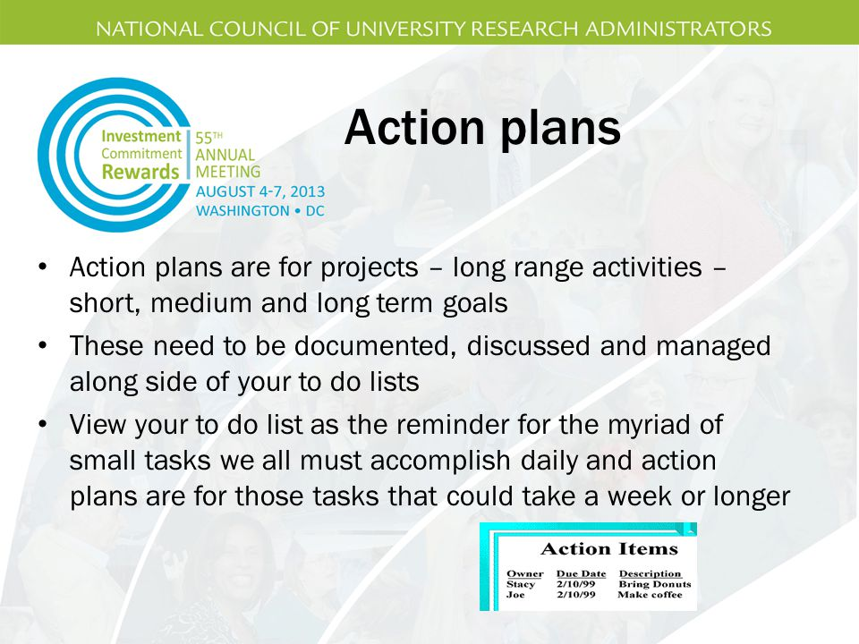 Action plans Action plans are for projects – long range activities – short, medium and long term goals.