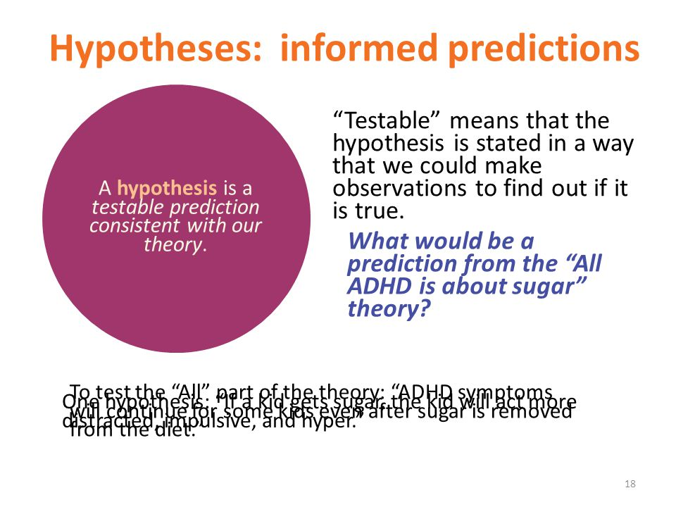 Hypotheses: informed predictions