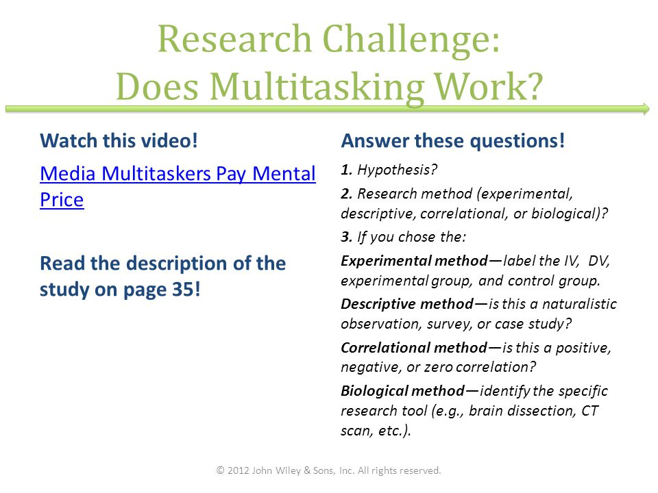 Research Challenge: Does Multitasking Work