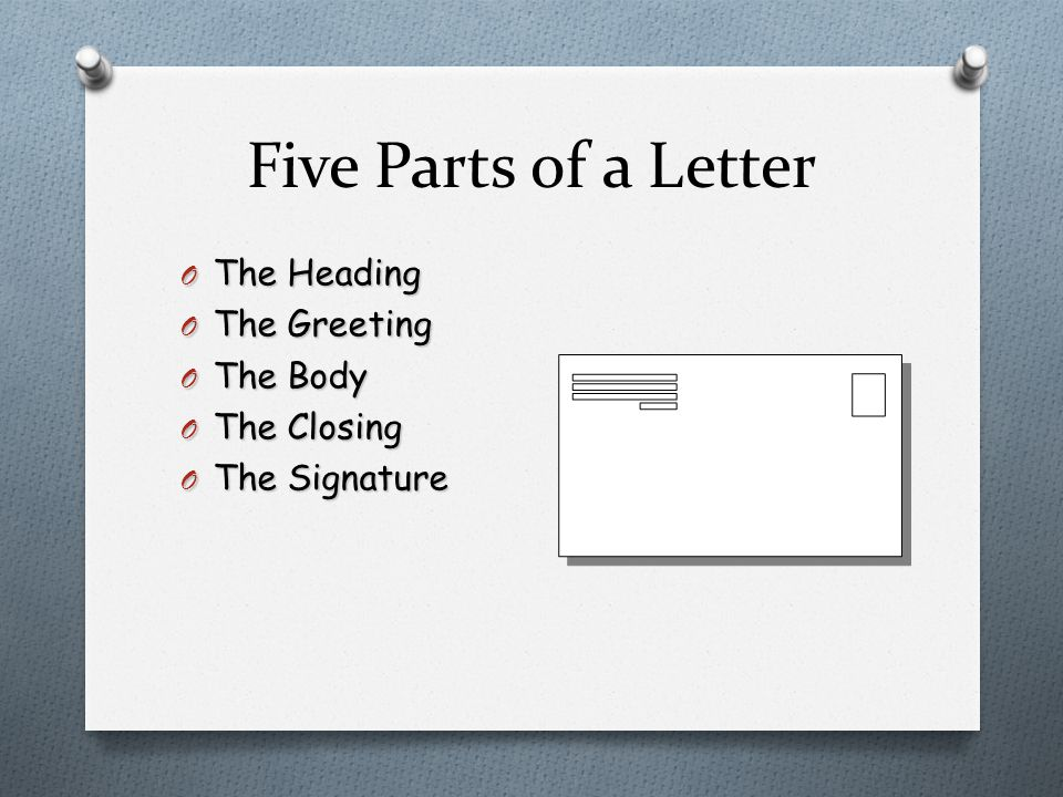 Five Parts of a Letter The Heading The Greeting The Body The Closing