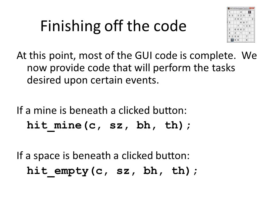 Finishing off the code
