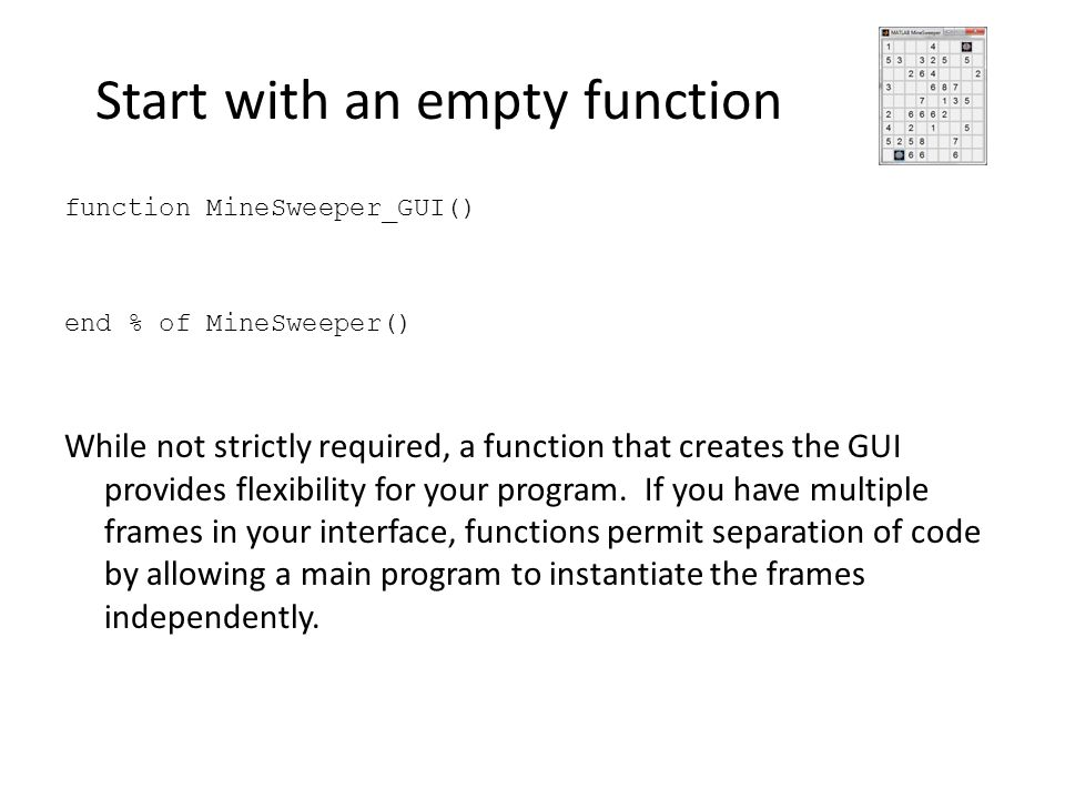 Start with an empty function