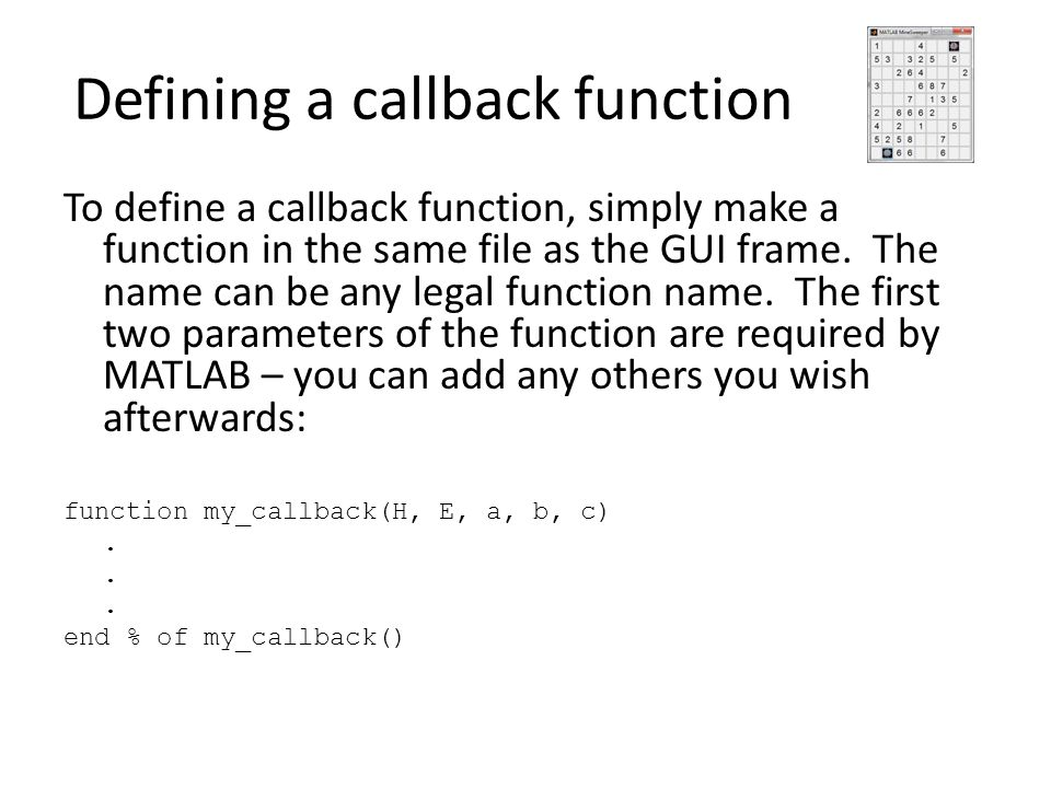 Defining a callback function