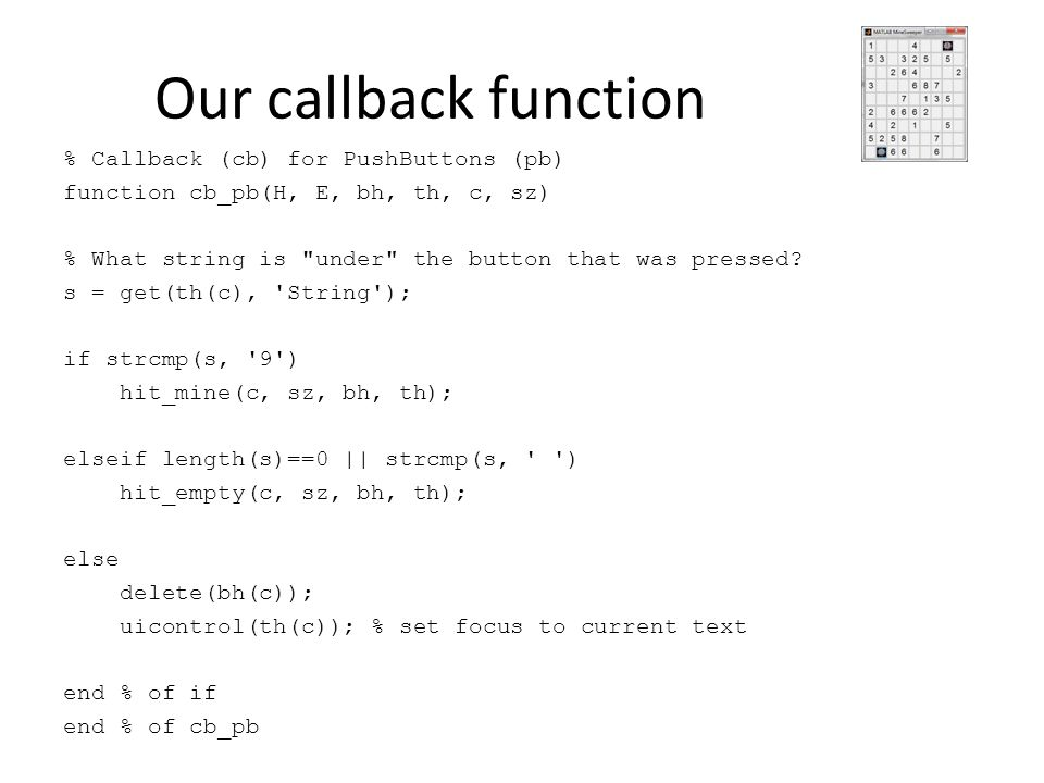 Our callback function