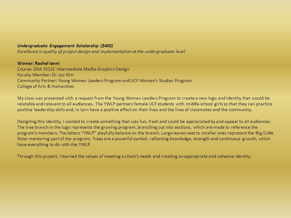 Undergraduate Engagement Scholarship ($400)