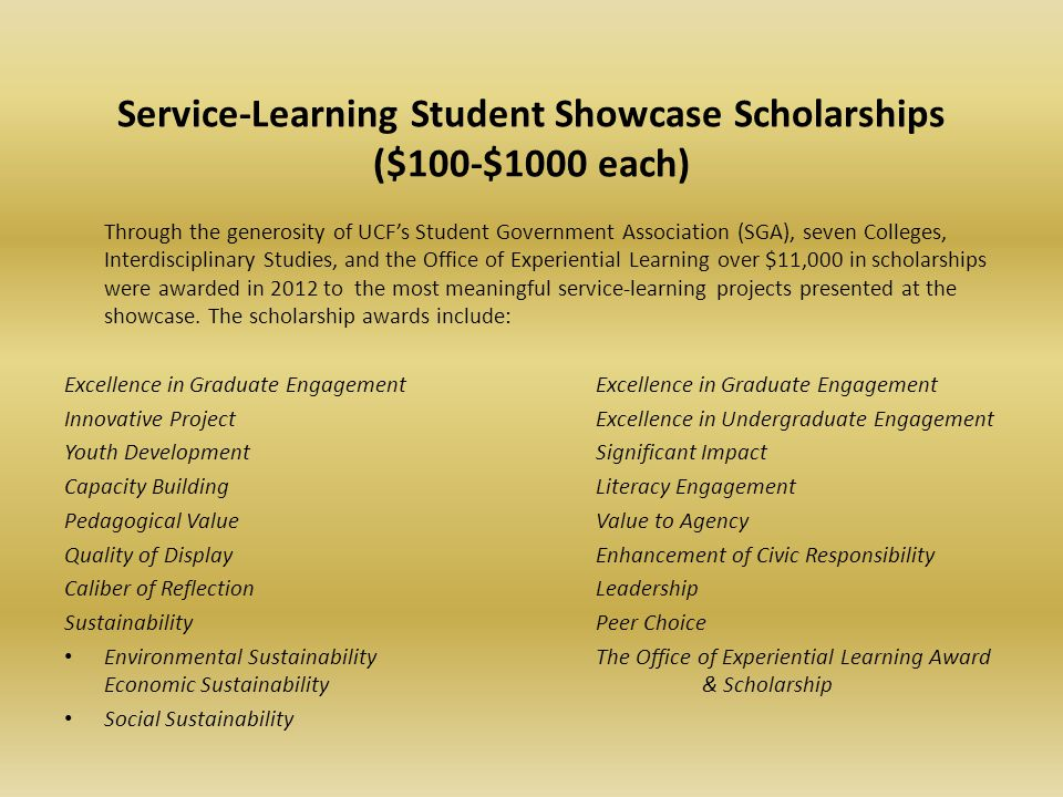 Service-Learning Student Showcase Scholarships ($100-$1000 each)
