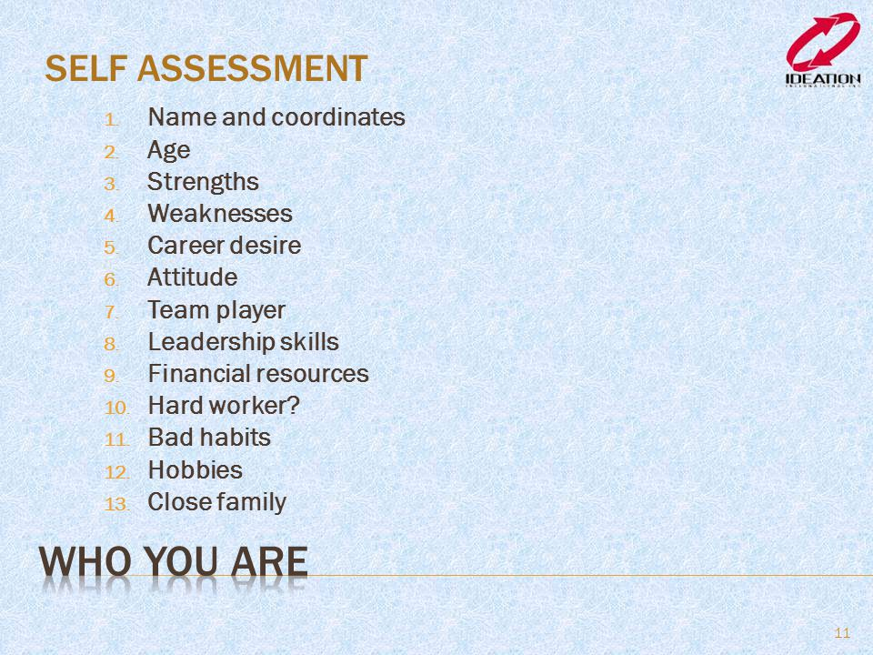 Who You Are Self Assessment Name and coordinates Age Strengths