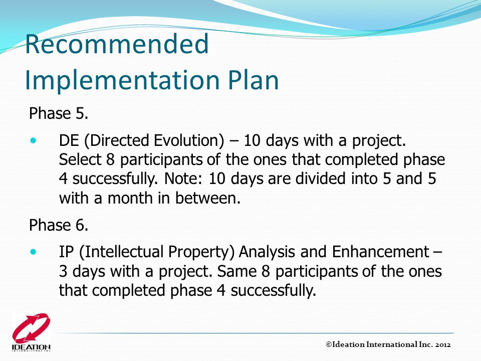 Recommended Implementation Plan