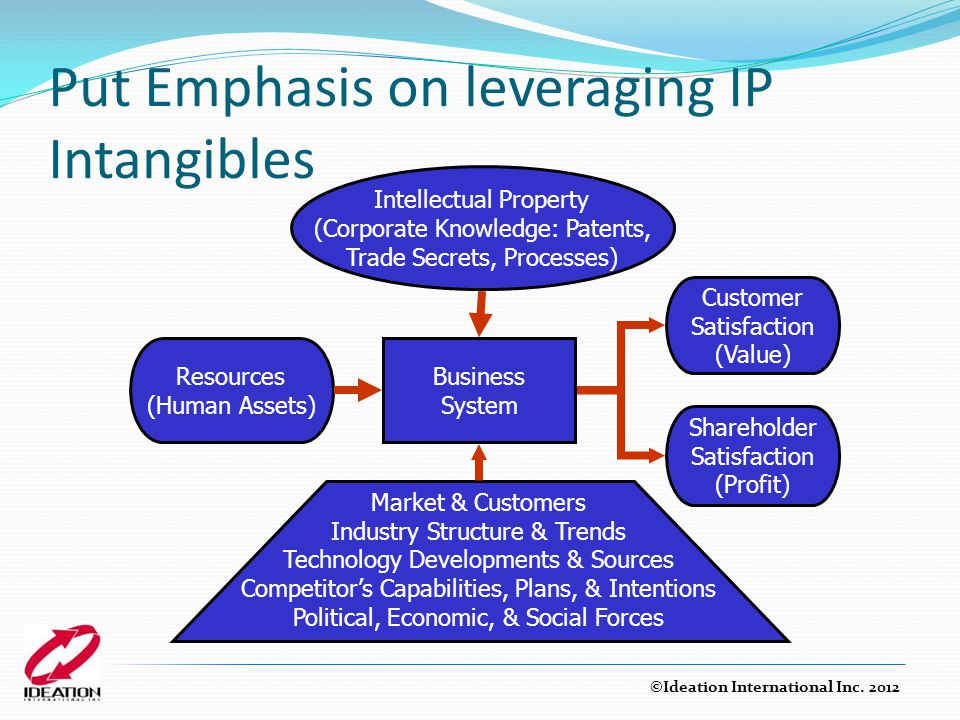 Put Emphasis on leveraging IP Intangibles