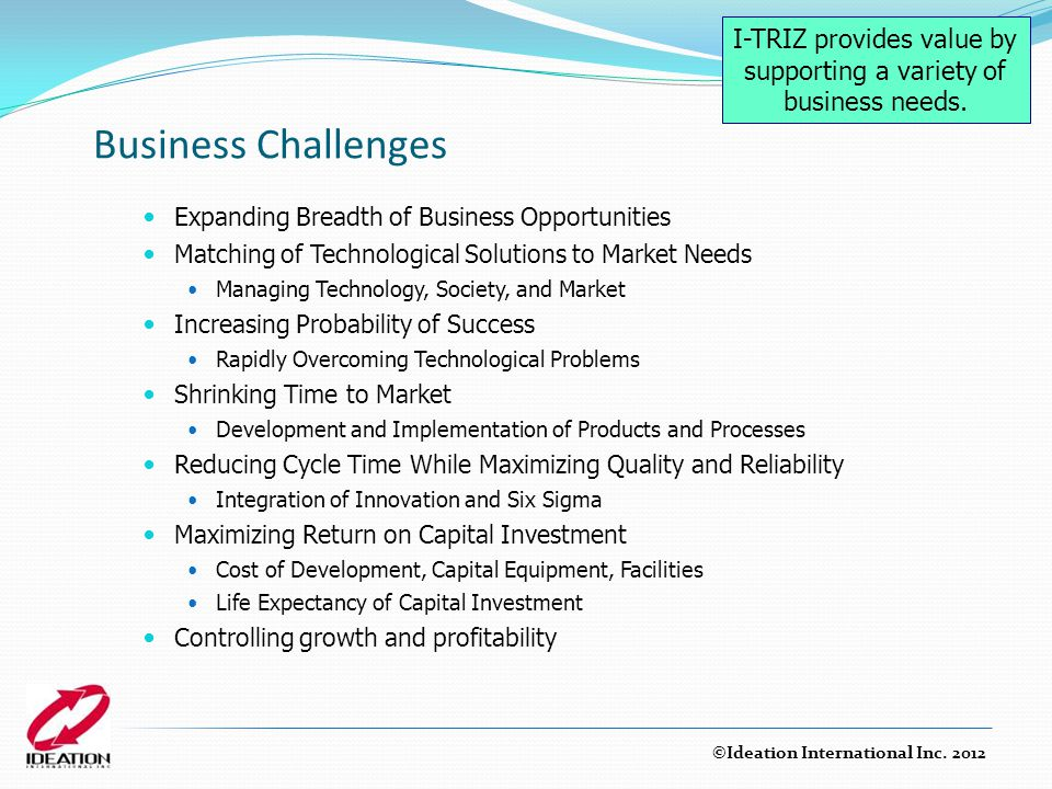 I-TRIZ provides value by supporting a variety of business needs.