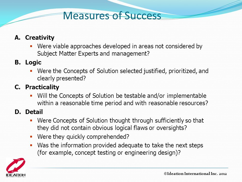 Measures of Success A. Creativity