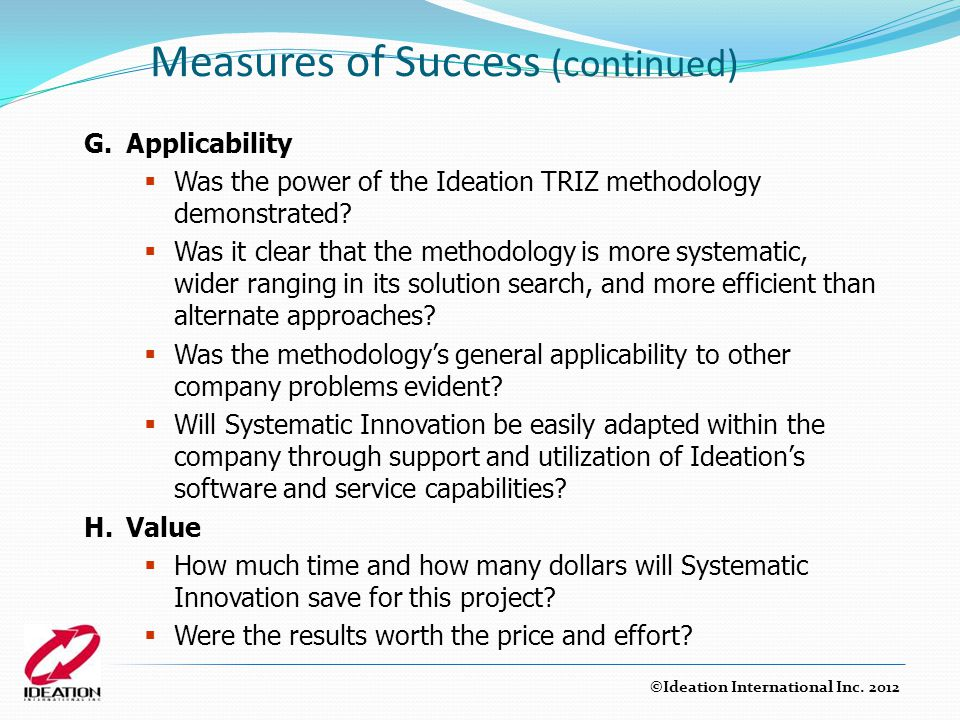 Measures of Success (continued)