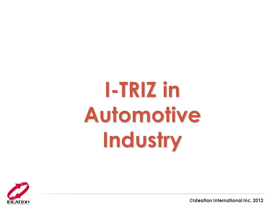 I-TRIZ in Automotive Industry