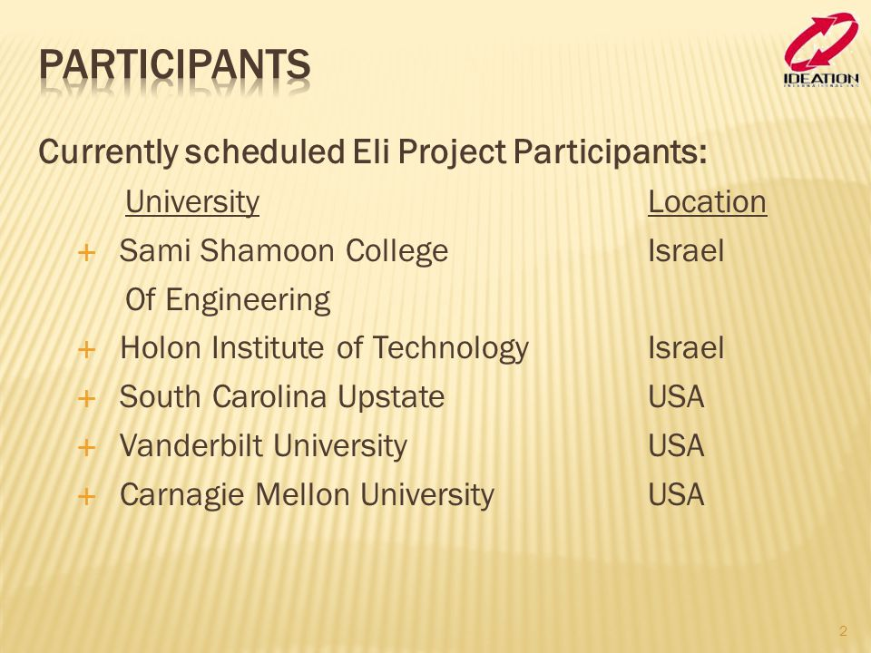 Participants Currently scheduled Eli Project Participants: