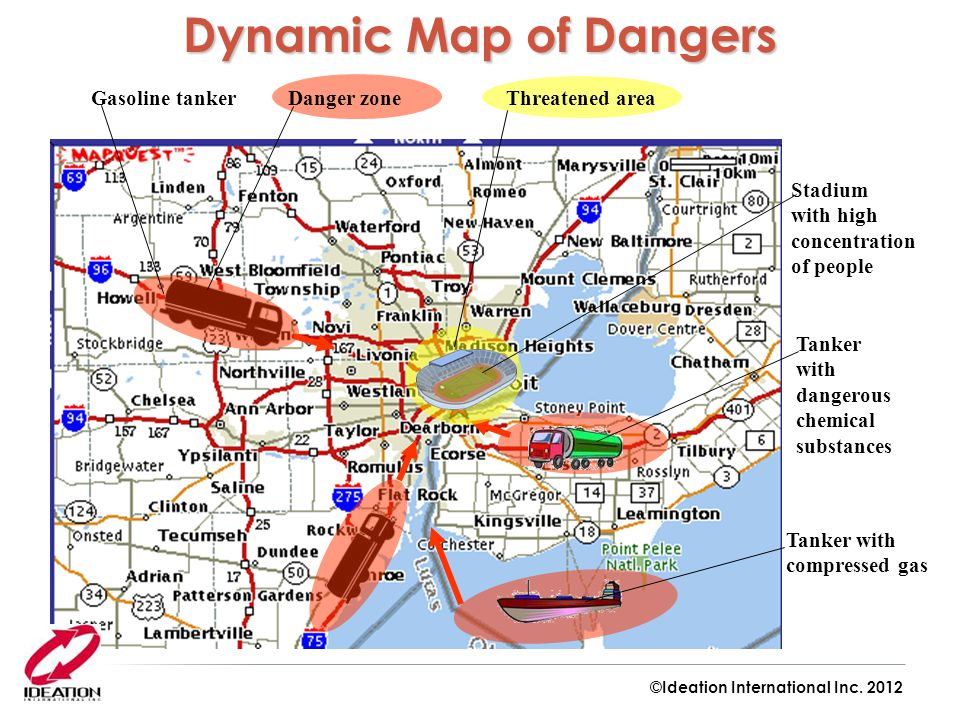 Dynamic Map of Dangers Tanker with compressed gas Gasoline tanker
