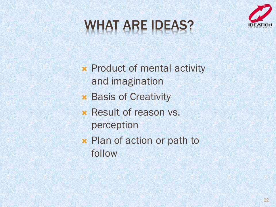 What are Ideas Product of mental activity and imagination