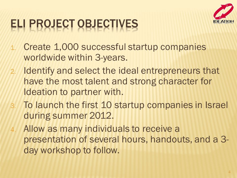 Eli Project Objectives