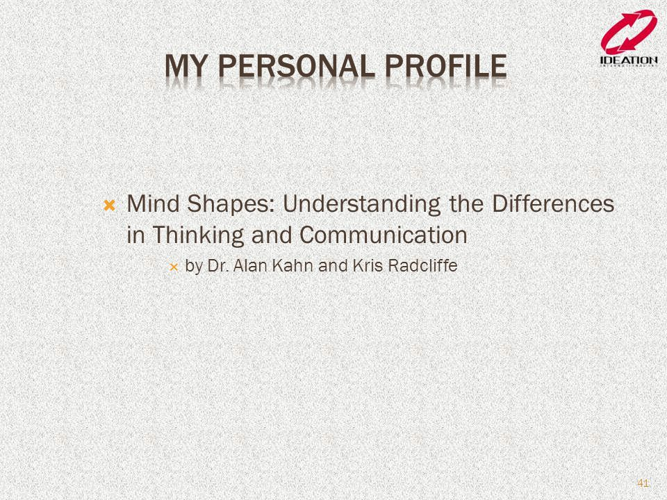 My Personal Profile Mind Shapes: Understanding the Differences in Thinking and Communication.