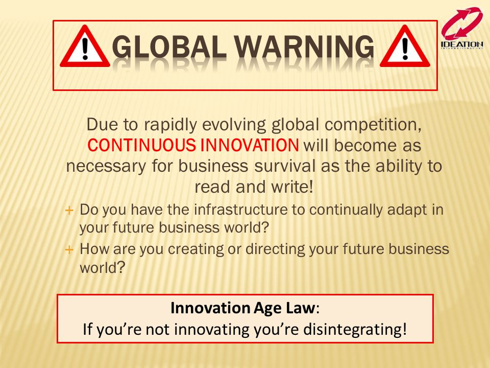 If you're not innovating you're disintegrating!